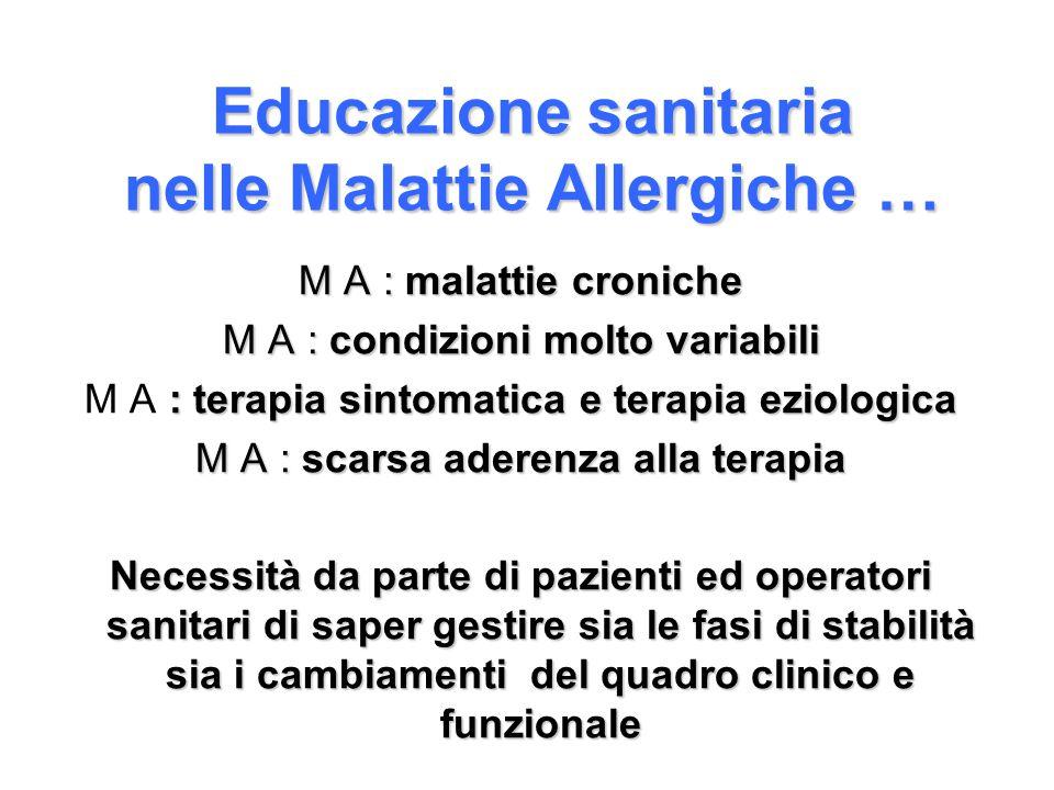 Educazione sanitaria nelle Malattie Allergiche … M A : malattie croniche M A : condizioni molto variabili : terapia sintomatica e terapia eziologica M