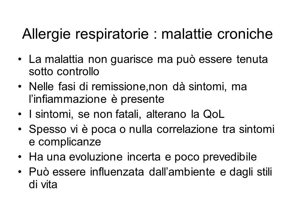 Allergie respiratorie : malattie croniche La malattia non guarisce ma può essere tenuta sotto controllo Nelle fasi di remissione,non dà sintomi, ma l'