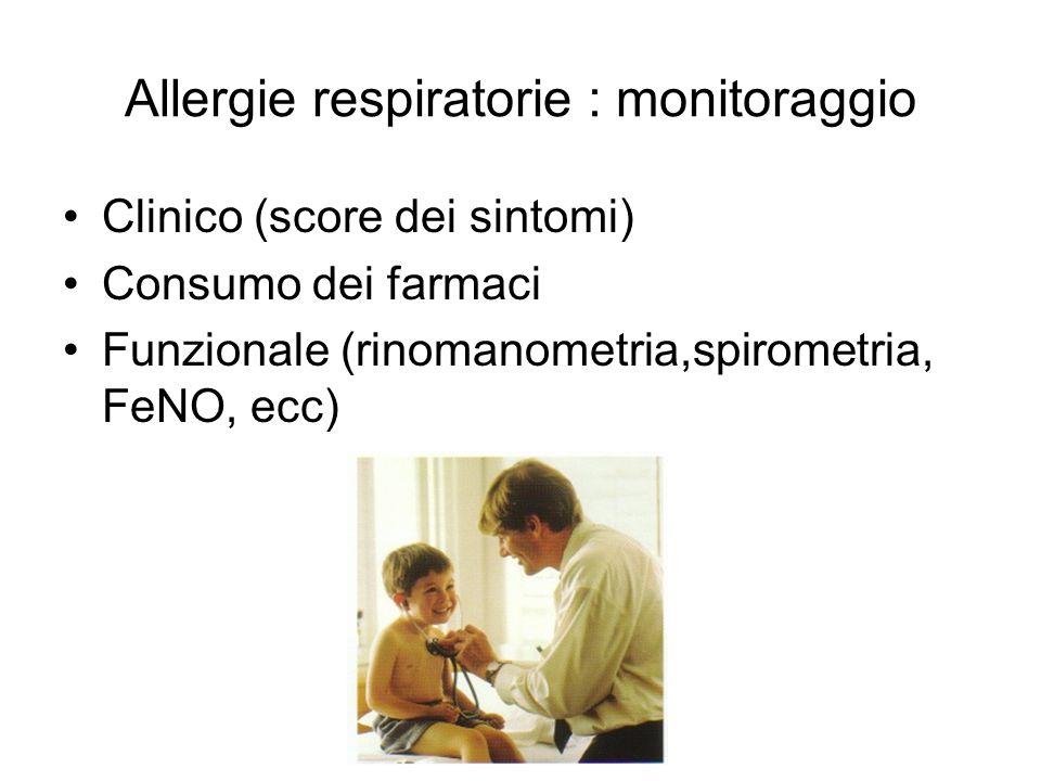 Allergie respiratorie : monitoraggio Clinico (score dei sintomi) Consumo dei farmaci Funzionale (rinomanometria,spirometria, FeNO, ecc)