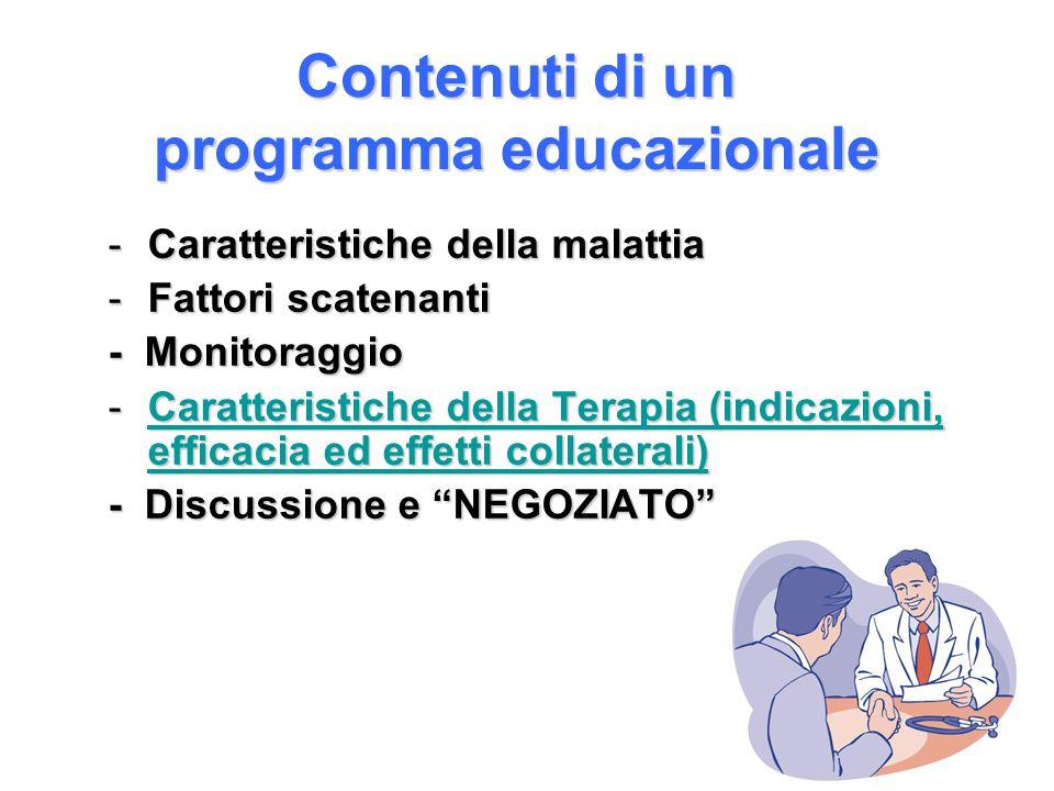Contenuti di un programma educazionale -Caratteristiche della malattia -Fattori scatenanti - Monitoraggio -Caratteristiche della Terapia (indicazioni,