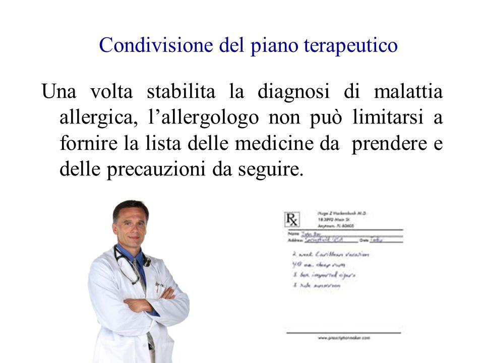 Condivisione del piano terapeutico Una volta stabilita la diagnosi di malattia allergica, l'allergologo non può limitarsi a fornire la lista delle med