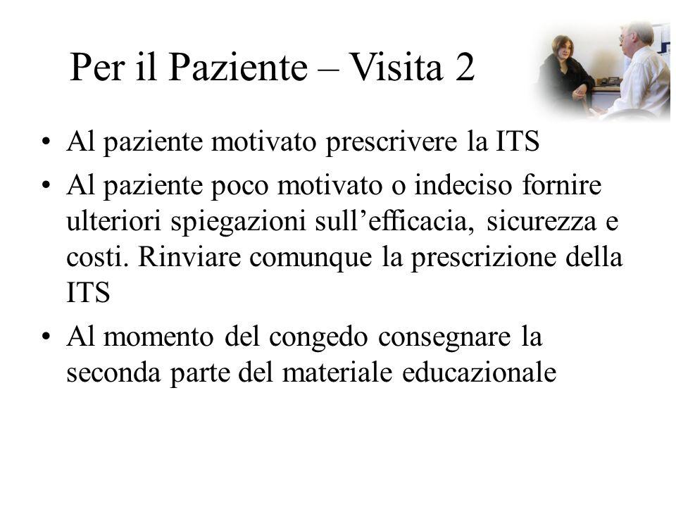 Per il Paziente – Visita 2 Al paziente motivato prescrivere la ITS Al paziente poco motivato o indeciso fornire ulteriori spiegazioni sull'efficacia,