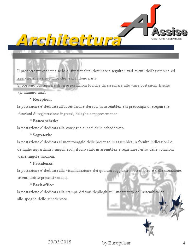 29/03/2015 by Europulsar4 Architettura Il prodotto prevede una serie di funzionalita destinate a seguire i vari eventi dell assemblea ed a servire alle varie figure che vi prendono parte.