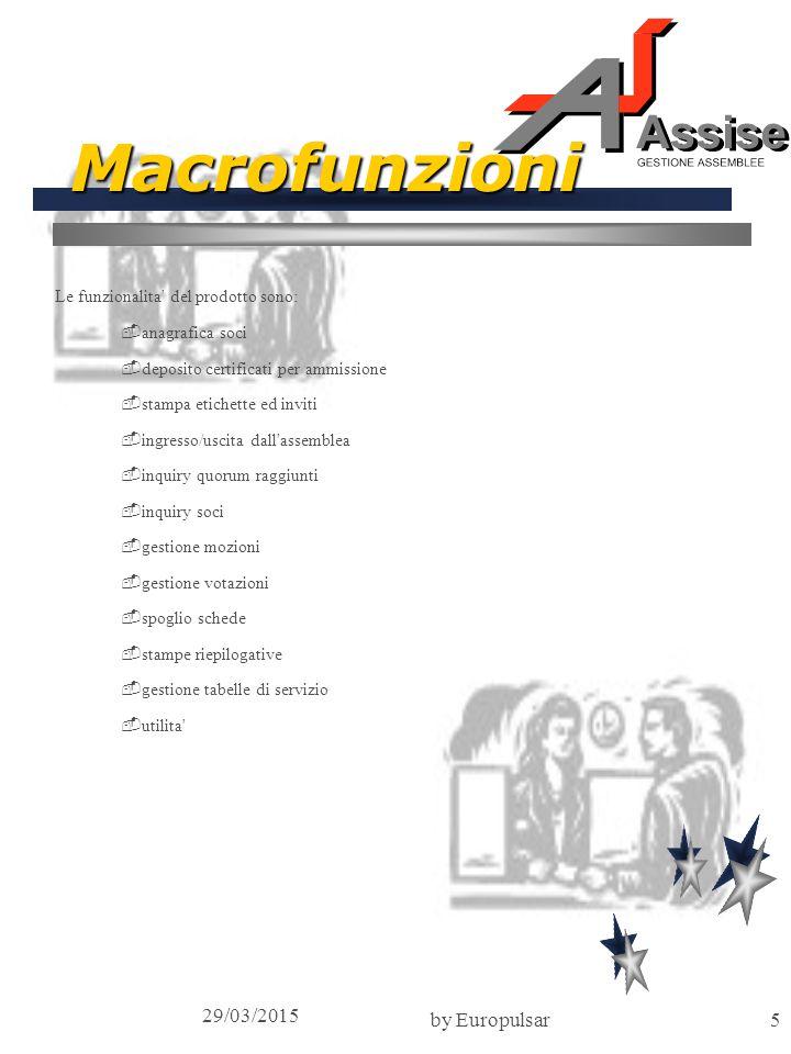 29/03/2015 by Europulsar5 Macrofunzioni Le funzionalita del prodotto sono: -anagrafica soci -deposito certificati per ammissione -stampa etichette ed inviti -ingresso/uscita dall assemblea -inquiry quorum raggiunti -inquiry soci -gestione mozioni -gestione votazioni -spoglio schede -stampe riepilogative -gestione tabelle di servizio -utilita