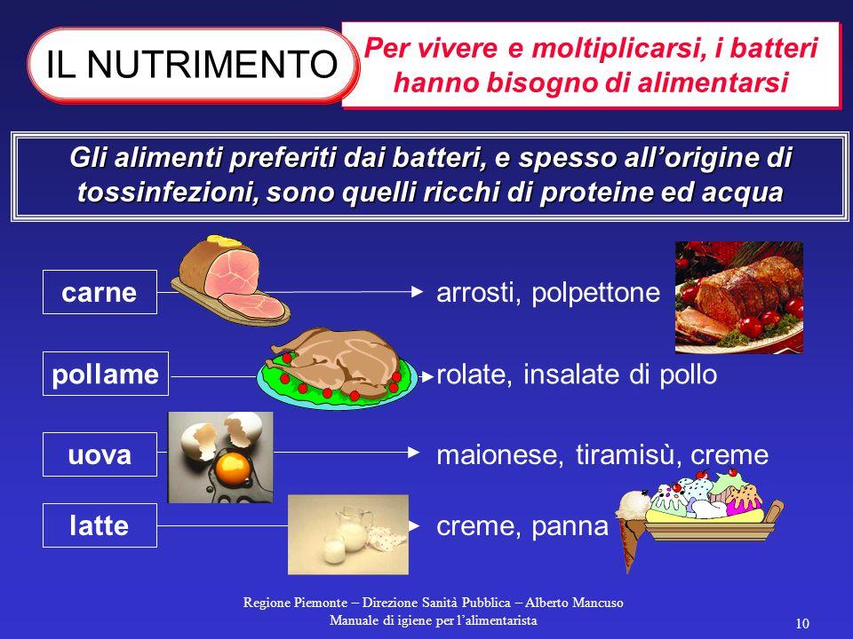 Regione Piemonte – Direzione Sanità Pubblica – Alberto Mancuso Manuale di igiene per l'alimentarista 9 Moltiplicazione dei batteri in condizioni favor