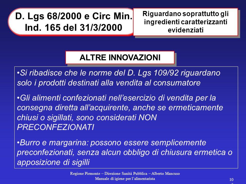 Regione Piemonte – Direzione Sanità Pubblica – Alberto Mancuso Manuale di igiene per l'alimentarista 102 SANZIONI Da 6 a 36 milioni art. 2: pubblicità