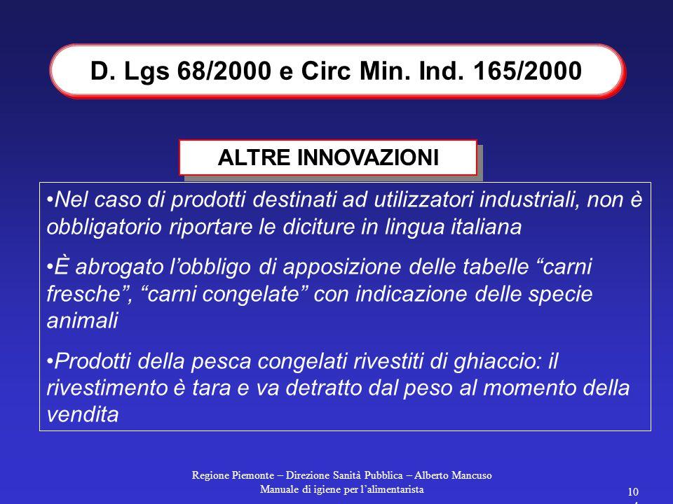 Regione Piemonte – Direzione Sanità Pubblica – Alberto Mancuso Manuale di igiene per l'alimentarista 103 D. Lgs 68/2000 e Circ Min. Ind. 165 del 31/3/