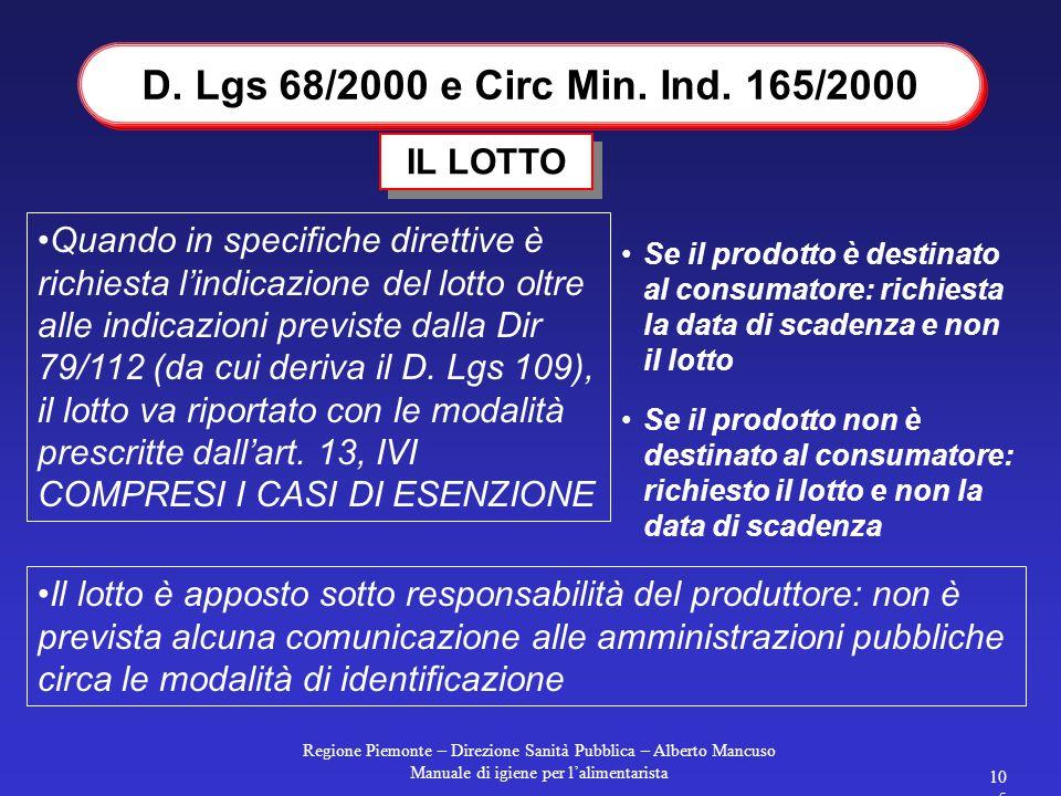 Regione Piemonte – Direzione Sanità Pubblica – Alberto Mancuso Manuale di igiene per l'alimentarista 105 Quando in specifiche direttive è richiesta l'indicazione del lotto oltre alle indicazioni previste dalla Dir 79/112 (da cui deriva il D.