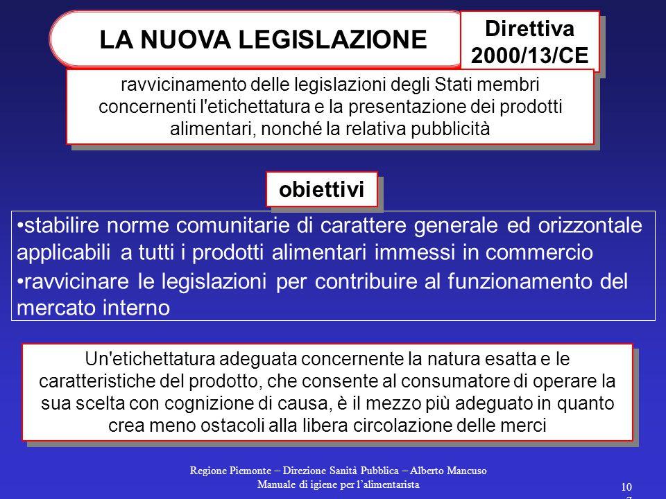 Regione Piemonte – Direzione Sanità Pubblica – Alberto Mancuso Manuale di igiene per l'alimentarista 106 QUANTITA' E INGREDIENTI Per i prodotti sogget