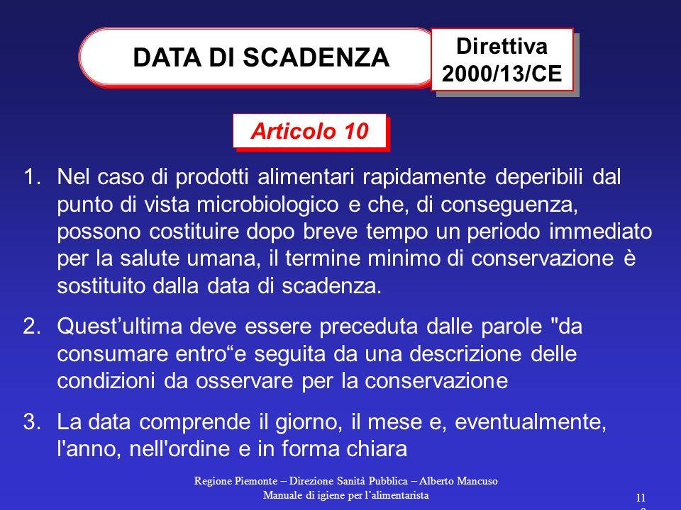 Regione Piemonte – Direzione Sanità Pubblica – Alberto Mancuso Manuale di igiene per l'alimentarista 109 Gli Stati membri possono mantenere le disposi