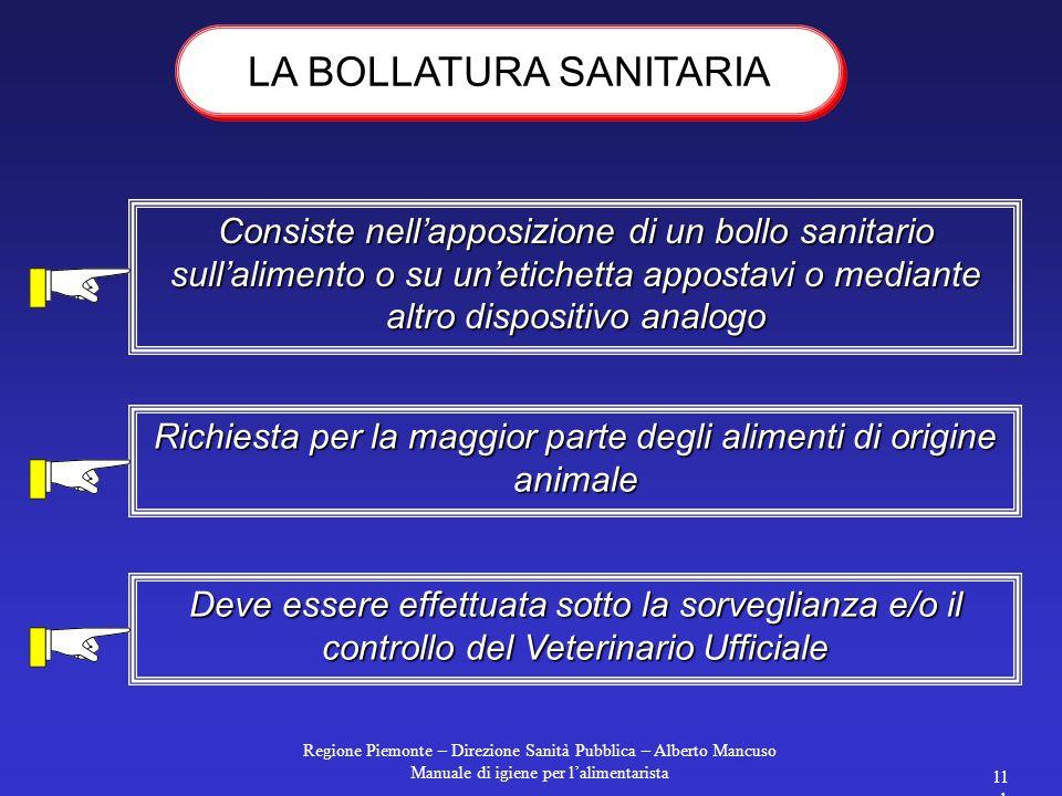 Regione Piemonte – Direzione Sanità Pubblica – Alberto Mancuso Manuale di igiene per l'alimentarista 110 1.Nel caso di prodotti alimentari rapidamente