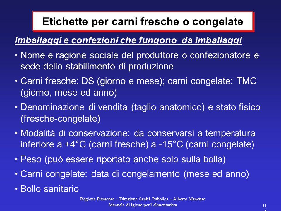 Regione Piemonte – Direzione Sanità Pubblica – Alberto Mancuso Manuale di igiene per l'alimentarista 113 Carni sezionate in pezzi inferiori: deve esse