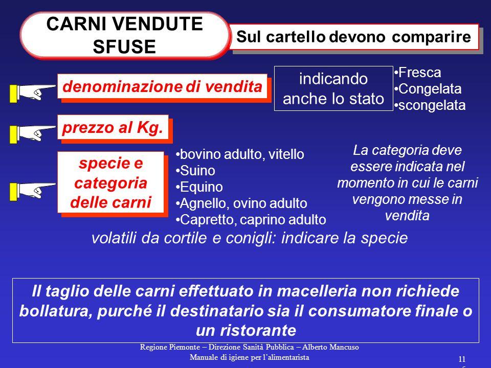 Regione Piemonte – Direzione Sanità Pubblica – Alberto Mancuso Manuale di igiene per l'alimentarista 114 Etichette per carni fresche o congelate Imbal