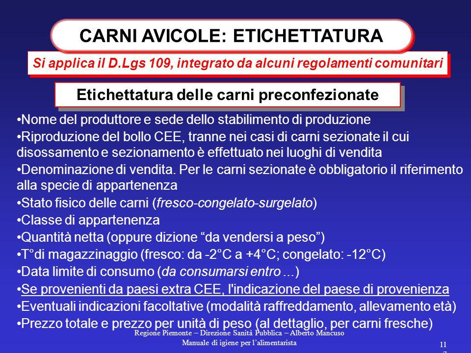 Regione Piemonte – Direzione Sanità Pubblica – Alberto Mancuso Manuale di igiene per l'alimentarista 116 devono sempre riportare il n° CEE dello stabi