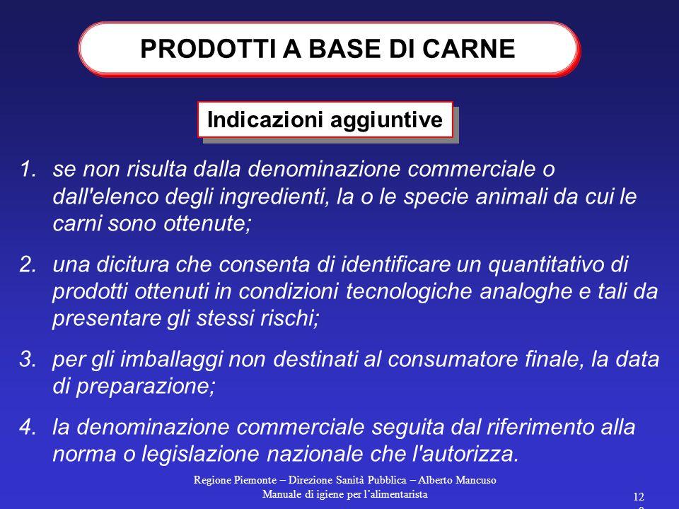 Regione Piemonte – Direzione Sanità Pubblica – Alberto Mancuso Manuale di igiene per l'alimentarista 119 La produzione è regolamentata dal D.Lgs 537/9