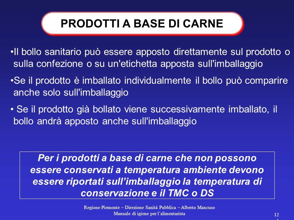 Regione Piemonte – Direzione Sanità Pubblica – Alberto Mancuso Manuale di igiene per l'alimentarista 120 PRODOTTI A BASE DI CARNE Indicazioni aggiunti
