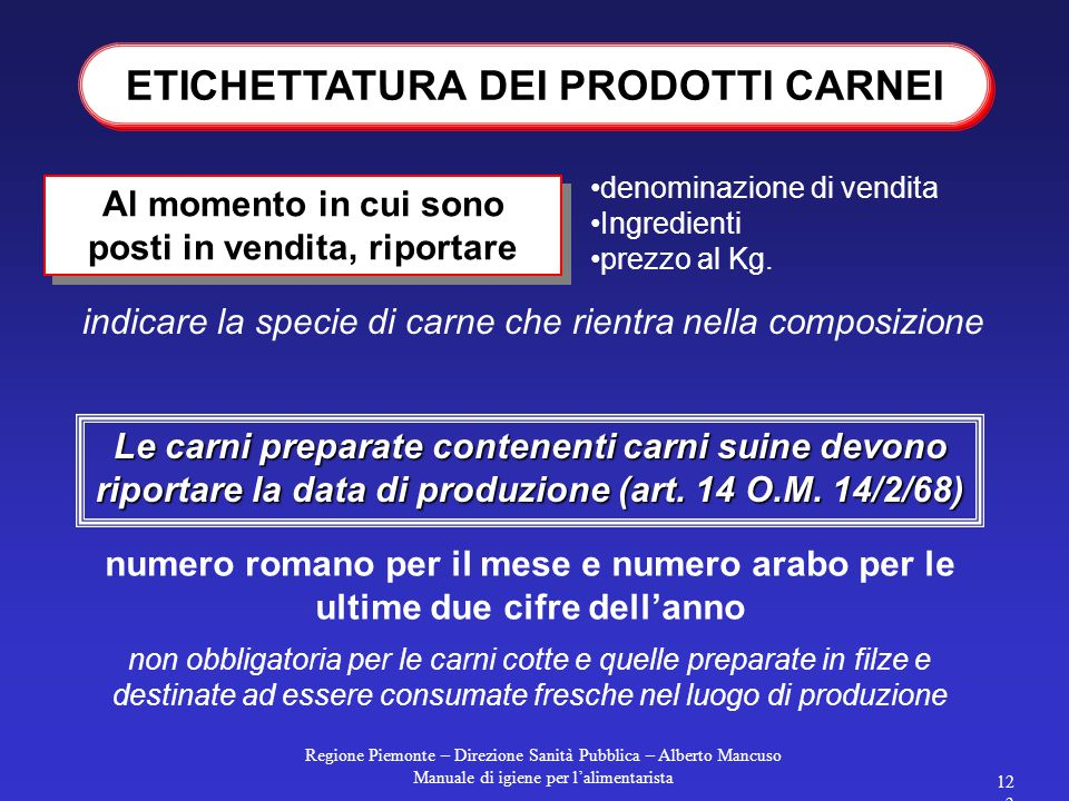 Regione Piemonte – Direzione Sanità Pubblica – Alberto Mancuso Manuale di igiene per l'alimentarista 123 Al momento in cui sono posti in vendita, riportare denominazione di vendita Ingredienti prezzo al Kg.