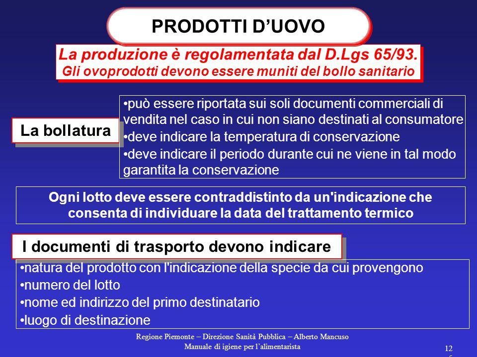 Regione Piemonte – Direzione Sanità Pubblica – Alberto Mancuso Manuale di igiene per l'alimentarista 125 La produzione è regolamentata dal D.Lgs 65/93.