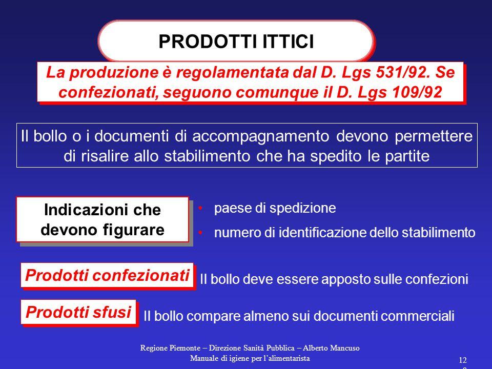 Regione Piemonte – Direzione Sanità Pubblica – Alberto Mancuso Manuale di igiene per l'alimentarista 127 La produzione è regolamentata dal D.Lgs 530/9