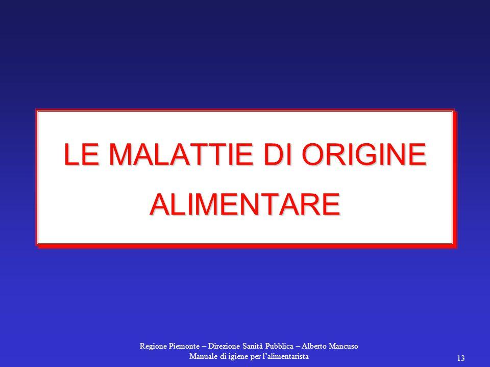 Regione Piemonte – Direzione Sanità Pubblica – Alberto Mancuso Manuale di igiene per l'alimentarista 13 LE MALATTIE DI ORIGINE ALIMENTARE