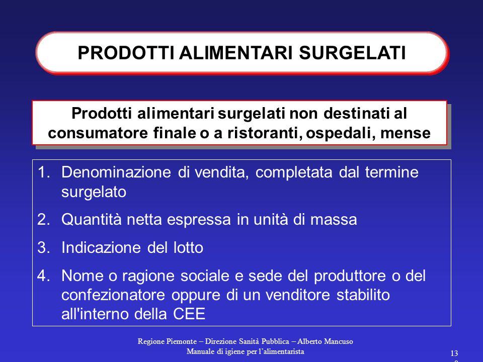 Regione Piemonte – Direzione Sanità Pubblica – Alberto Mancuso Manuale di igiene per l'alimentarista 129 Devono essere etichettati in base alle regole