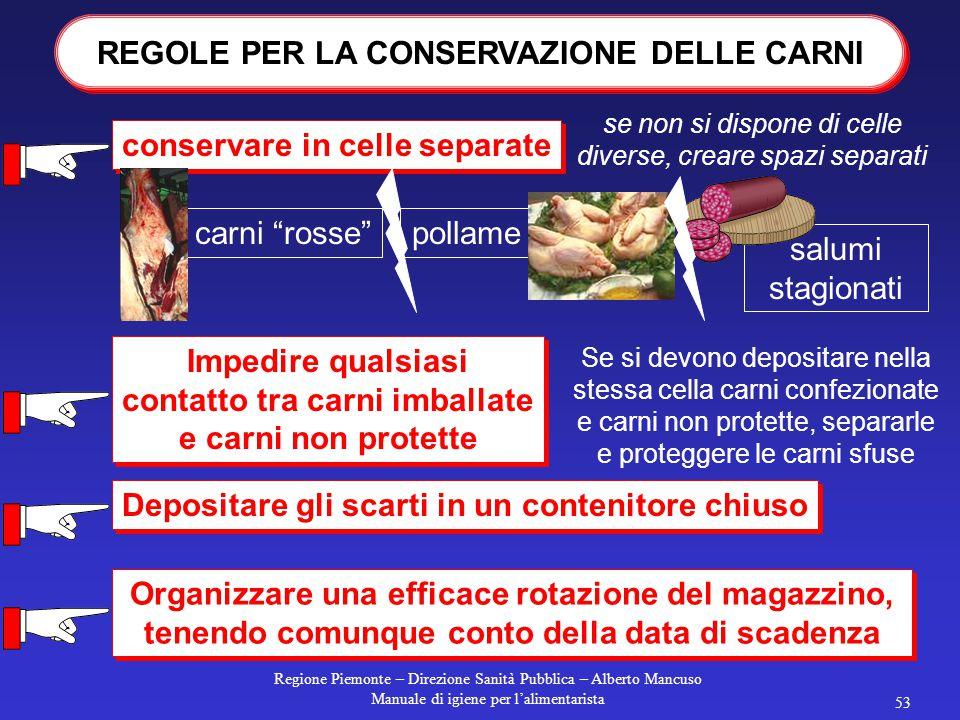 Regione Piemonte – Direzione Sanità Pubblica – Alberto Mancuso Manuale di igiene per l'alimentarista 52 Assicurarsi che in ogni cella ci sia un termom