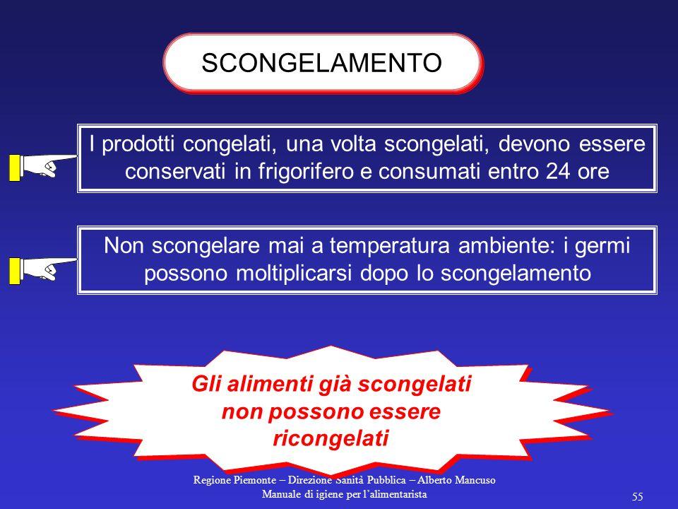 Regione Piemonte – Direzione Sanità Pubblica – Alberto Mancuso Manuale di igiene per l'alimentarista 54 Sottoponendo un alimento ad una temperatura su