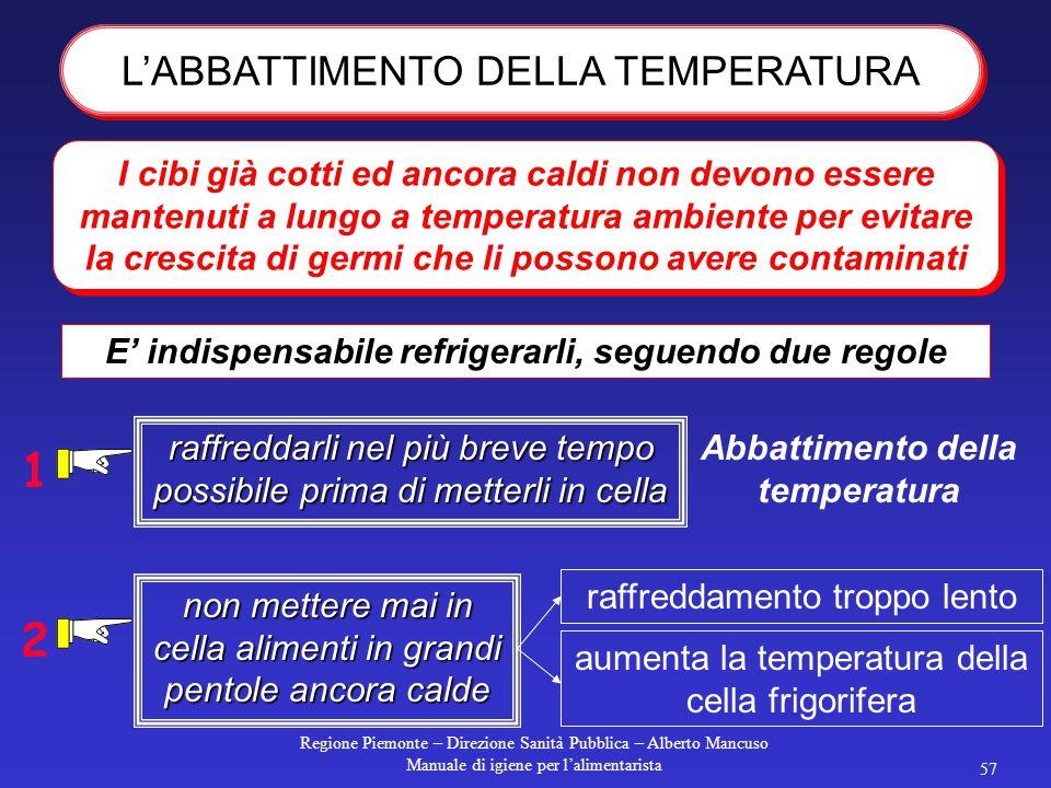 Regione Piemonte – Direzione Sanità Pubblica – Alberto Mancuso Manuale di igiene per l'alimentarista 56 immersione diretta nell'acqua di cottura in eb