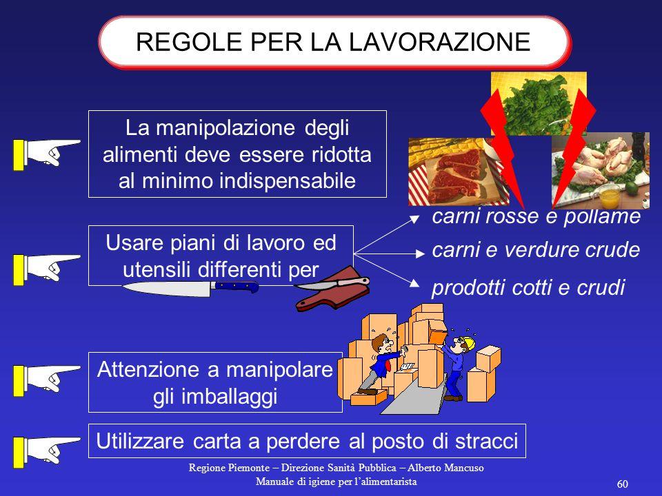Regione Piemonte – Direzione Sanità Pubblica – Alberto Mancuso Manuale di igiene per l'alimentarista 59 La cottura deve essere completa Se devono esse