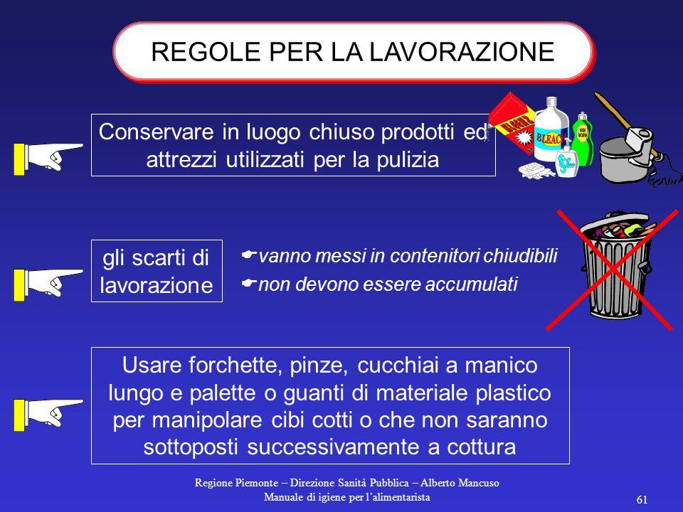 Regione Piemonte – Direzione Sanità Pubblica – Alberto Mancuso Manuale di igiene per l'alimentarista 60 La manipolazione degli alimenti deve essere ri