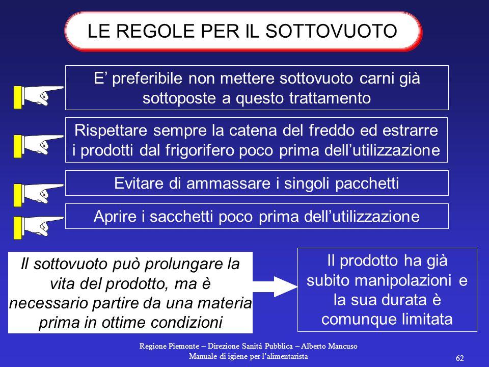 Regione Piemonte – Direzione Sanità Pubblica – Alberto Mancuso Manuale di igiene per l'alimentarista 61 gli scarti di lavorazione  vanno messi in con