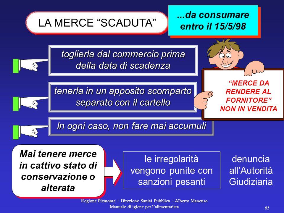 Regione Piemonte – Direzione Sanità Pubblica – Alberto Mancuso Manuale di igiene per l'alimentarista 64 Deve essere pulito il più frequentemente possi