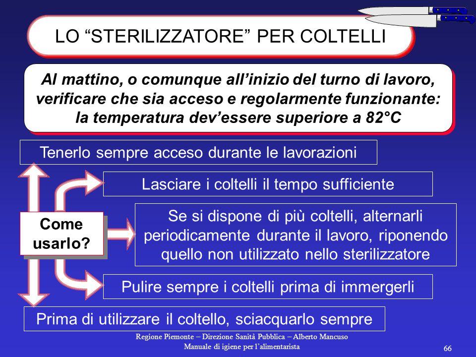 Regione Piemonte – Direzione Sanità Pubblica – Alberto Mancuso Manuale di igiene per l'alimentarista 65 toglierla dal commercio prima della data di sc