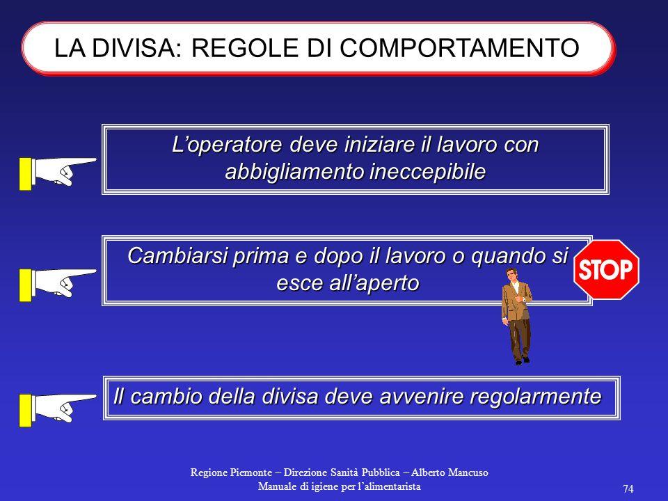 Regione Piemonte – Direzione Sanità Pubblica – Alberto Mancuso Manuale di igiene per l'alimentarista 73 copricapo di colore chiaro Camice o tuta di co