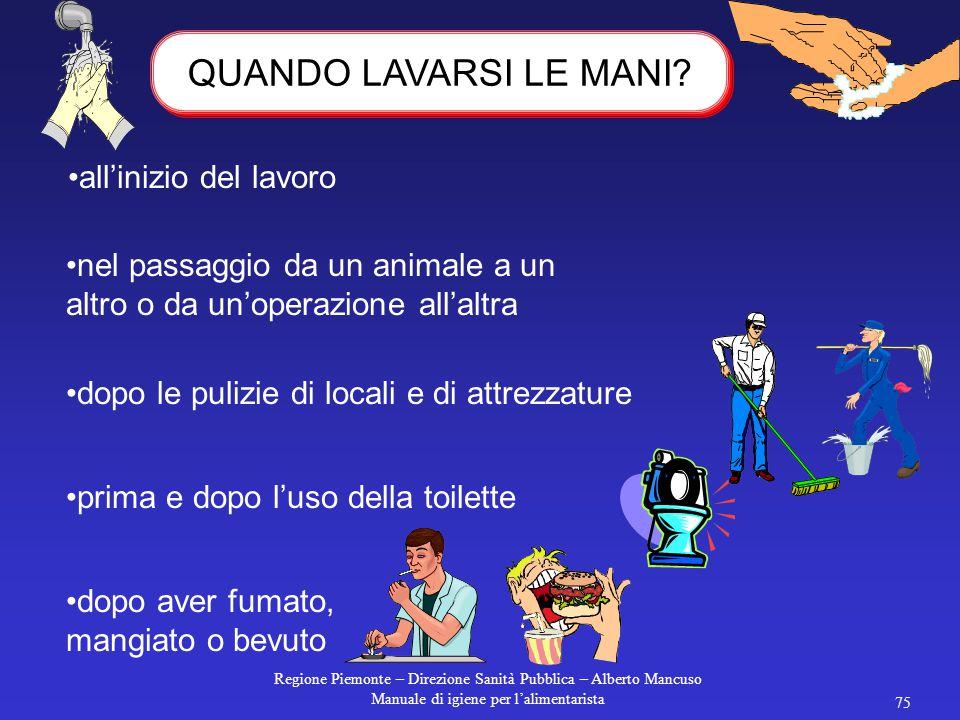 Regione Piemonte – Direzione Sanità Pubblica – Alberto Mancuso Manuale di igiene per l'alimentarista 74 LA DIVISA: REGOLE DI COMPORTAMENTO Cambiarsi p
