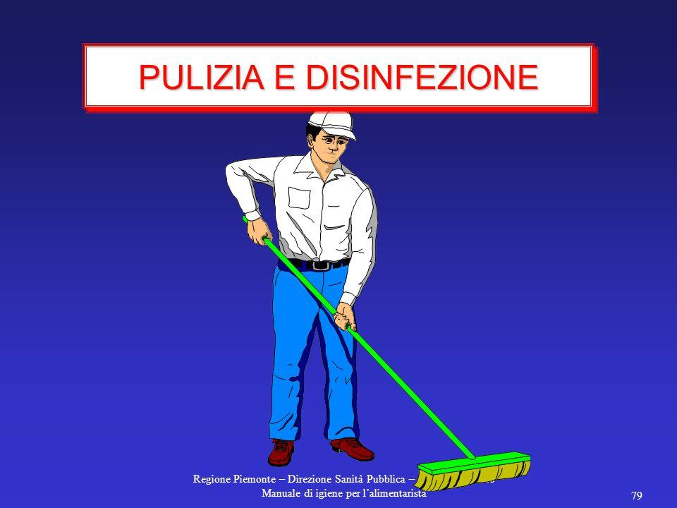Regione Piemonte – Direzione Sanità Pubblica – Alberto Mancuso Manuale di igiene per l'alimentarista 79 PULIZIA E DISINFEZIONE