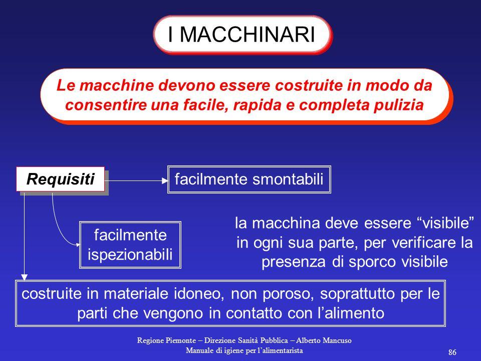 Regione Piemonte – Direzione Sanità Pubblica – Alberto Mancuso Manuale di igiene per l'alimentarista 85 L'acqua, durante il lavaggio e la disinfezione