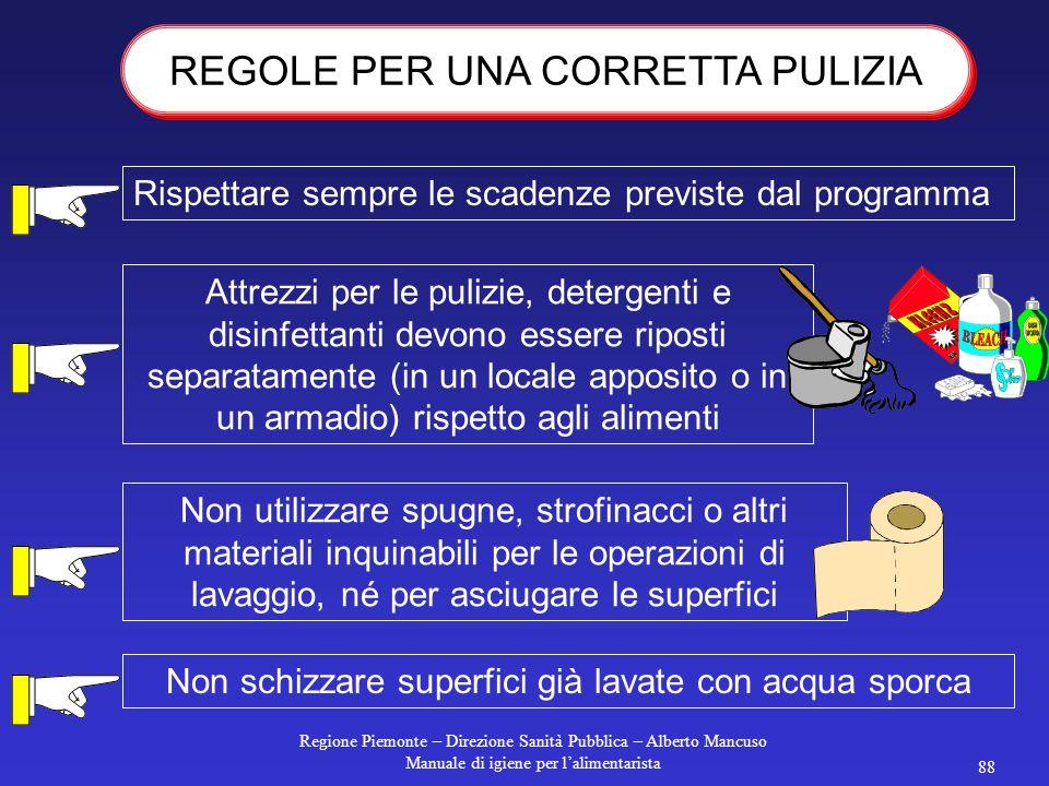Regione Piemonte – Direzione Sanità Pubblica – Alberto Mancuso Manuale di igiene per l'alimentarista 87 Indossare abiti appositi per le operazioni di