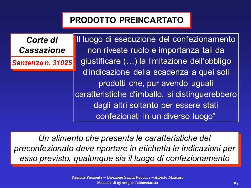 Regione Piemonte – Direzione Sanità Pubblica – Alberto Mancuso Manuale di igiene per l'alimentarista 95 Corte di Cassazione Sentenza n.