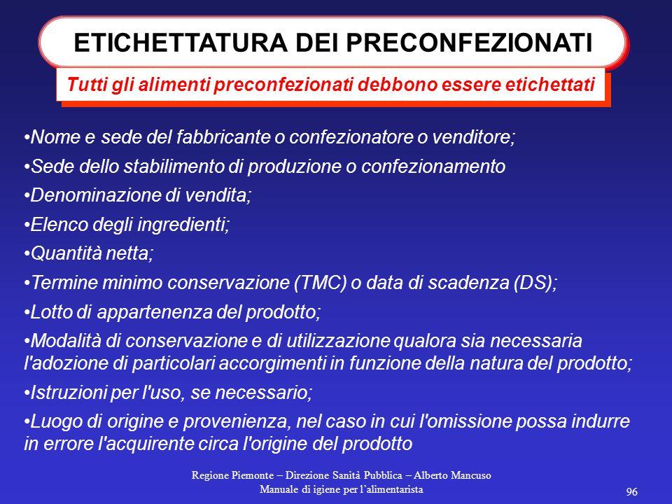 Regione Piemonte – Direzione Sanità Pubblica – Alberto Mancuso Manuale di igiene per l'alimentarista 95 Corte di Cassazione Sentenza n. 31025 PRODOTTO