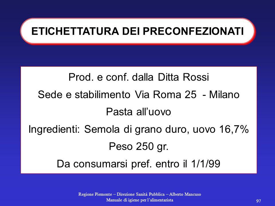 Regione Piemonte – Direzione Sanità Pubblica – Alberto Mancuso Manuale di igiene per l'alimentarista 97 ETICHETTATURA DEI PRECONFEZIONATI Prod.