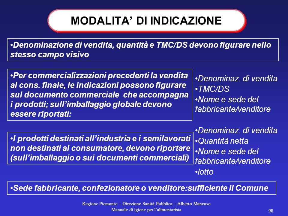 Regione Piemonte – Direzione Sanità Pubblica – Alberto Mancuso Manuale di igiene per l'alimentarista 97 ETICHETTATURA DEI PRECONFEZIONATI Prod. e conf