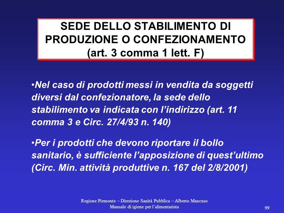 Regione Piemonte – Direzione Sanità Pubblica – Alberto Mancuso Manuale di igiene per l'alimentarista 99 Nel caso di prodotti messi in vendita da soggetti diversi dal confezionatore, la sede dello stabilimento va indicata con l'indirizzo (art.