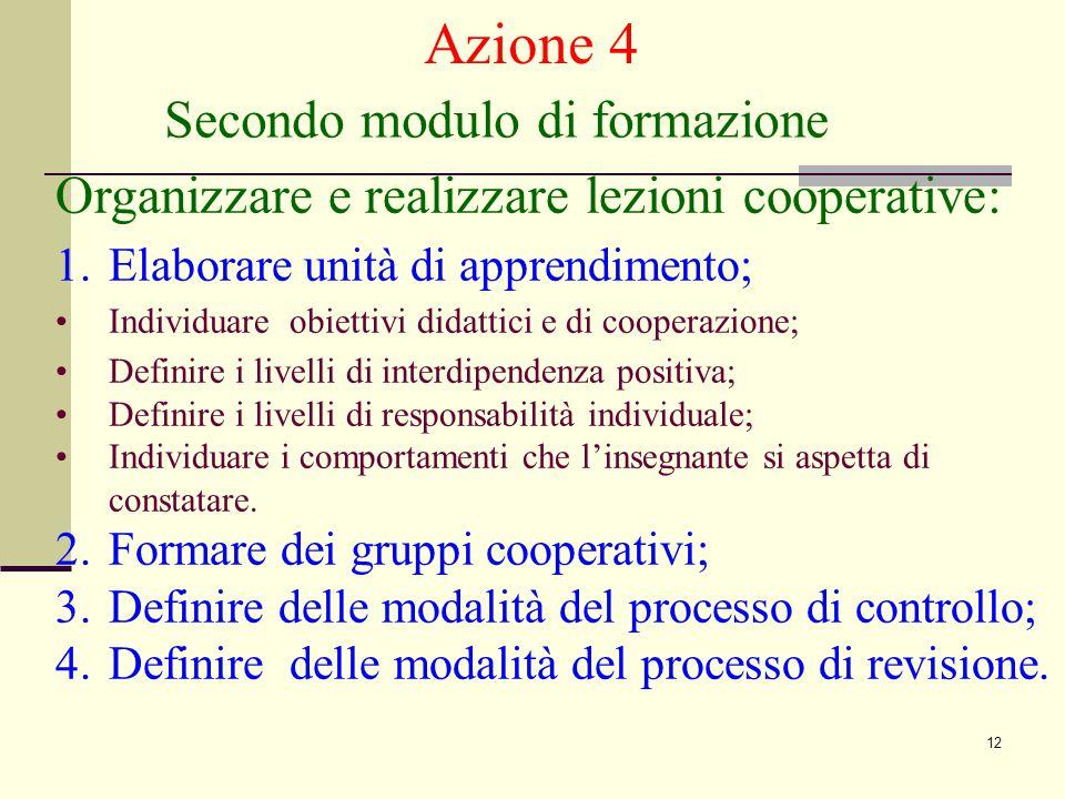 12 Secondo modulo di formazione Azione 4 Organizzare e realizzare lezioni cooperative: 1.Elaborare unità di apprendimento; Individuare obiettivi didattici e di cooperazione; Definire i livelli di interdipendenza positiva; Definire i livelli di responsabilità individuale; Individuare i comportamenti che l'insegnante si aspetta di constatare.