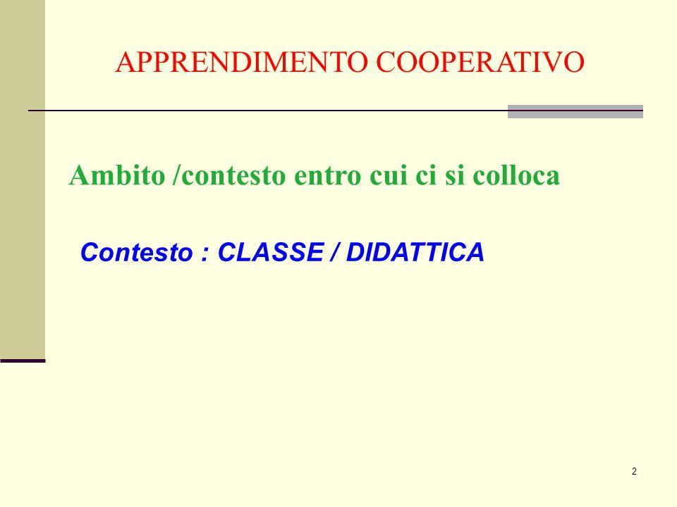 2 APPRENDIMENTO COOPERATIVO Ambito /contesto entro cui ci si colloca Contesto : CLASSE / DIDATTICA
