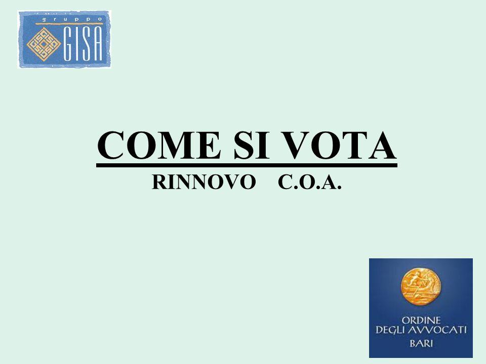 COME SI VOTA RINNOVO C.O.A.