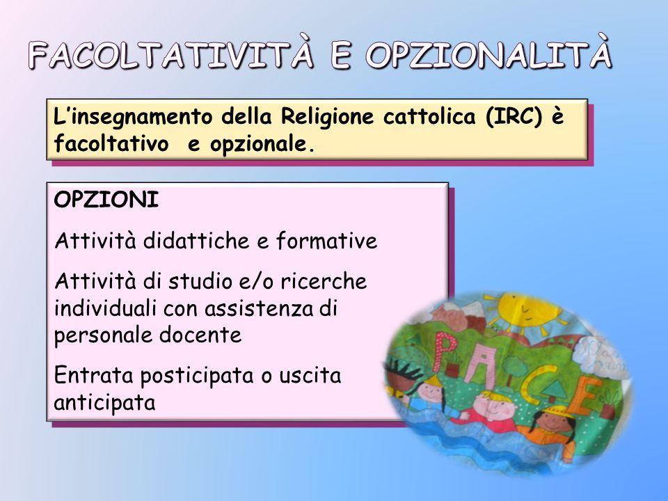 L'insegnamento della Religione cattolica (IRC) è facoltativo e opzionale. OPZIONI Attività didattiche e formative Attività di studio e/o ricerche indi