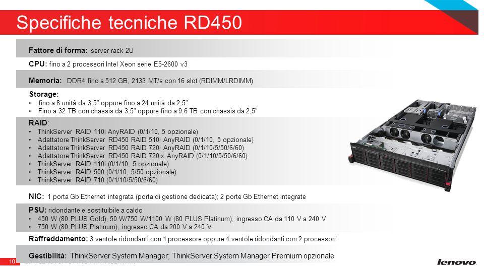 10 Specifiche tecniche RD450 2014 LENOVO. TUTTI I DIRITTI RISERVATI.