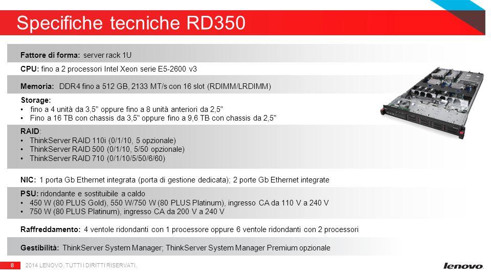 8 Specifiche tecniche RD350 2014 LENOVO. TUTTI I DIRITTI RISERVATI.