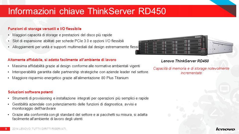9 Informazioni chiave ThinkServer RD450 2014 LENOVO.